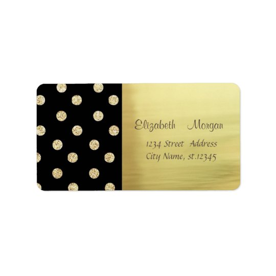 Elegant Stylish Shiny,Faux Gold,Glittery Dots Address Label