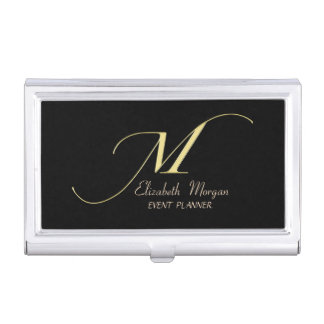 Elegant Stylish Simple- Black-Faux Gold Monogram Business Card Holder