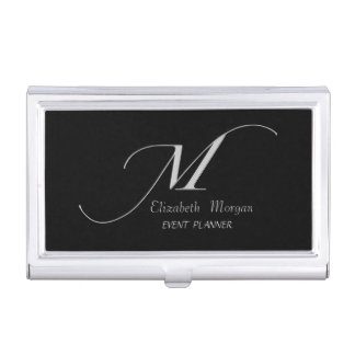 Elegant Stylish Simple- Black-Silver Monogram Business Card Holder
