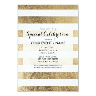 Elegant stylish trendy faux gold modern stripe card