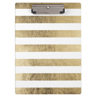 Elegant stylish trendy faux gold modern stripe clipboard