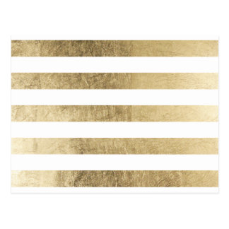 Elegant stylish trendy faux gold modern stripe postcard