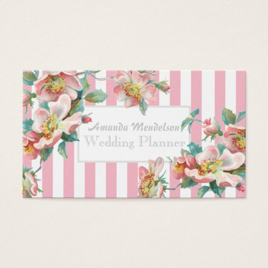 Elegant stylish white and pink floral business card