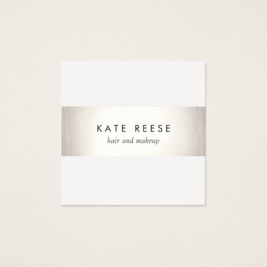 Elegant Stylish White Modern FAUX Silver Striped Square