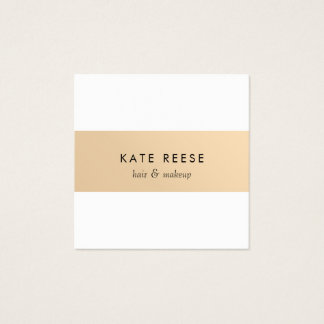 Elegant Stylish White Modern Rose Gold Striped Square Business Card