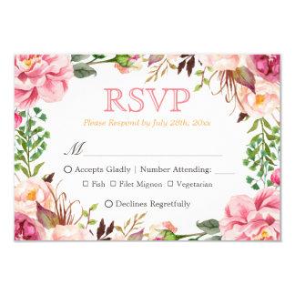 Elegant Subtle Chic Pink Floral Meal Choices RSVP Card