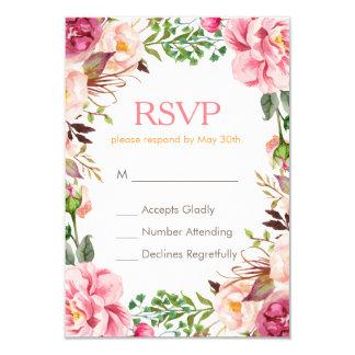 Elegant Subtle Chic Pink Floral RSVP Respond Card