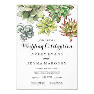 Elegant Succulent Plant Art Wedding Invitation