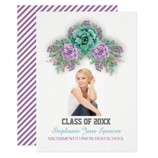 Elegant Succulent Watercolor Graduation Card