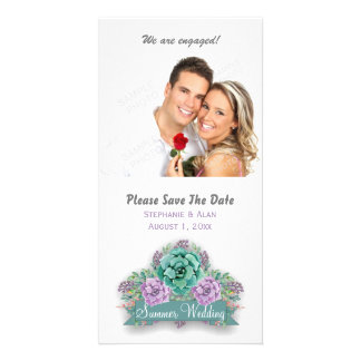 Elegant Succulent Watercolor Wedding Save The Date Personalised Photo Card