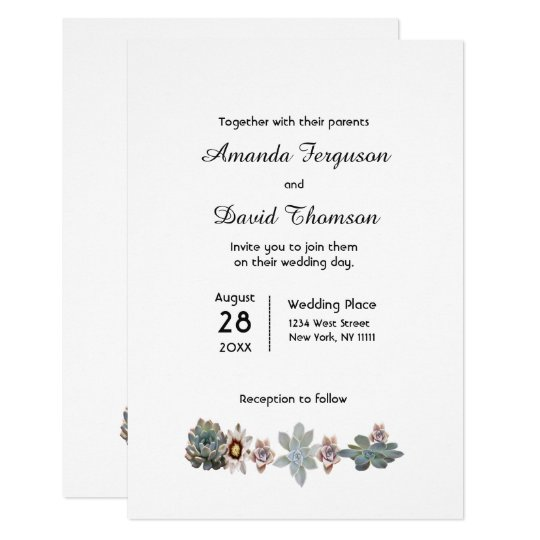 Elegant succulents on white wedding invitation