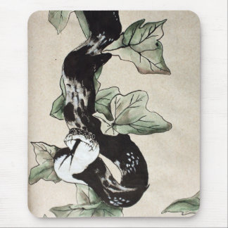 Elegant sumi-e snake mouse pad