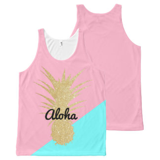 elegant summer gold glitter pineapple pink mint All-Over print tank top
