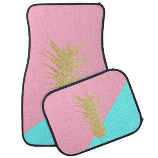 elegant summer gold glitter pineapple pink mint car mat