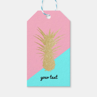 elegant summer gold glitter pineapple pink mint gift tags