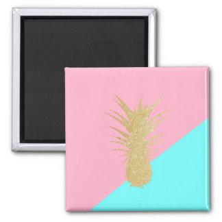 elegant summer gold glitter pineapple pink mint magnet