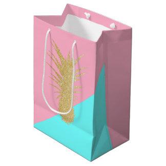 elegant summer gold glitter pineapple pink mint medium gift bag