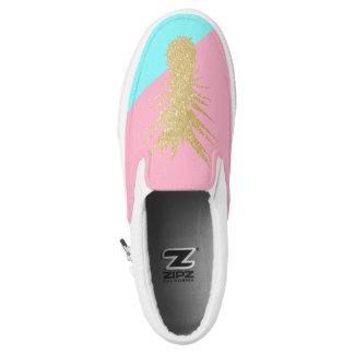 elegant summer gold glitter pineapple pink mint Slip-On shoes