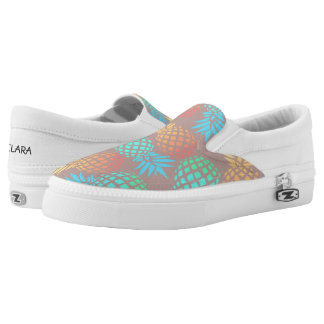 elegant summer tropical colorful pineapple pattern Slip-On shoes
