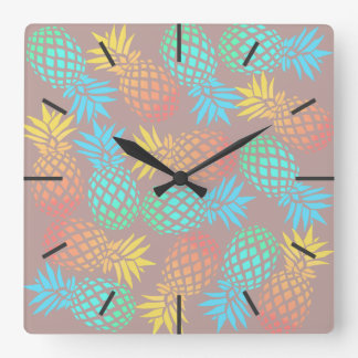elegant summer tropical colorful pineapple pattern square wall clock
