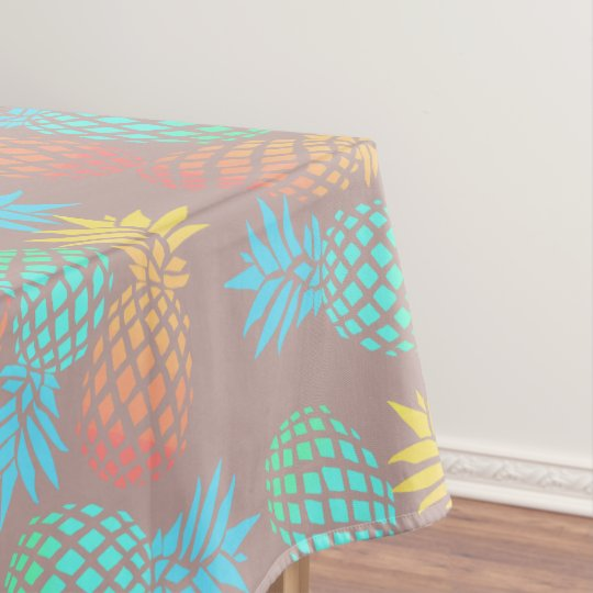 elegant summer tropical colourful pineapple tablecloth