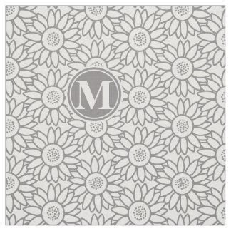 Elegant Sunflower Pattern Monogrammed Fabric