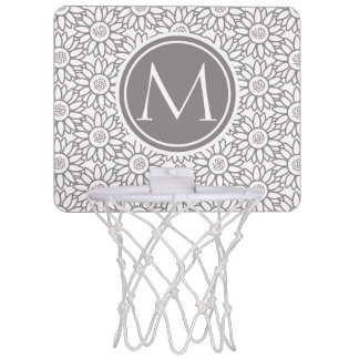 Elegant Sunflower Pattern Monogrammed Mini Basketball Hoop