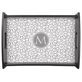Elegant Sunflower Pattern Monogrammed Serving Tray