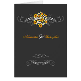 Elegant Sunflowers Daisies Bouquet RSVP Note Card