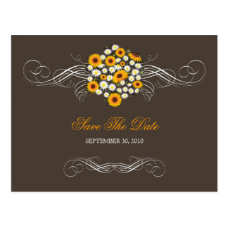 Elegant Sunflowers Daisies Bouquet Save the Date 2 Postcard