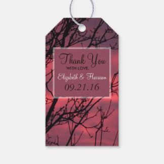 Elegant Sunset Forest Wedding Gift Tags