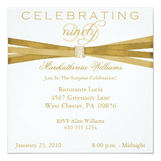 Elegant Surprise 90th Birthday Party Invitations