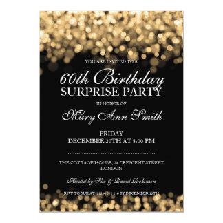 Elegant Surprise Birthday Party Gold Lights 13 Cm X 18 Cm Invitation Card
