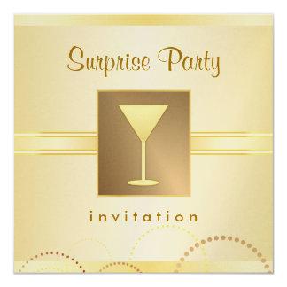 """Elegant Surprise Party Invitations - Metallic Gold 5.25"""" Square Invitation Card"""