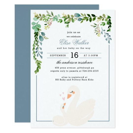 Elegant Swan Greenery Baby Shower Invitation