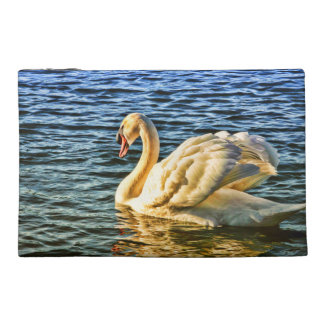 Elegant Swan Swimming on Blue Lake Photo Print Travel Accessory Bag