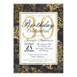 Elegant Swanky Faux Gold, Black, & Grey Floral 13 Cm X 18 Cm Invitation Card