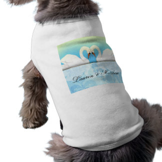Elegant Swans with blue and green Doggie T-shirt