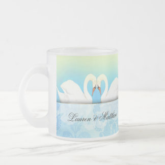 Elegant Swans with blue and green Coffee Mugs