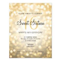 Elegant Sweet 16 Birthday Gold Glitter Lights 11 Cm X 14 Cm Invitation Card