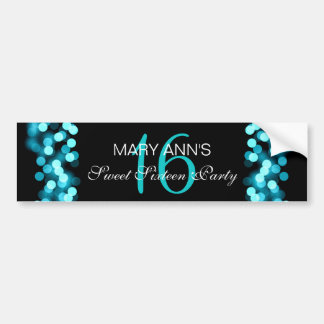Elegant Sweet 16 Birthday Hollywood Glam Turquoise Bumper Sticker