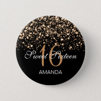 Elegant Sweet 16 Birthday Midnight Glam Gold 6 Cm Round Badge
