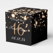Elegant Sweet 16 Birthday Midnight Glam Gold Wedding Favour Box