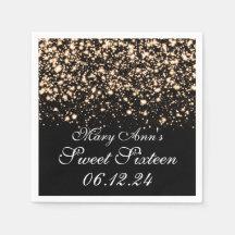 Elegant Sweet 16 Birthday Midnight Glam Gold Paper Napkin