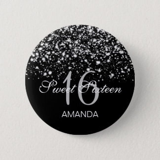 Elegant Sweet 16 Birthday Midnight Glam Silver 6 Cm Round Badge