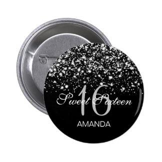 Elegant Sweet 16 Birthday Midnight Glam Silver 6 Cm Round Badge