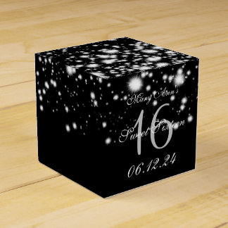 Elegant Sweet 16 Birthday Midnight Glam Silver Party Favour Boxes
