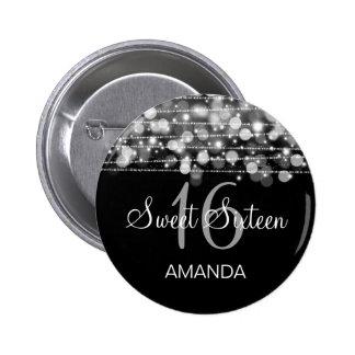 Elegant Sweet 16 Birthday Party Sparkles Silver 6 Cm Round Badge