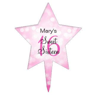 Elegant Sweet 16 Birthday Pink Glitter Lights Cake Toppers