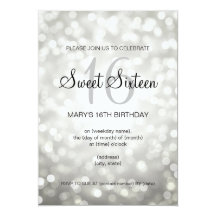Elegant Sweet 16 Birthday Silver Glitter Lights Personalised Invite